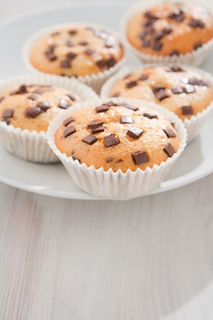 Many fresh and tasty home baked chocolate muffins on plate.  Stock Photo - 8498698