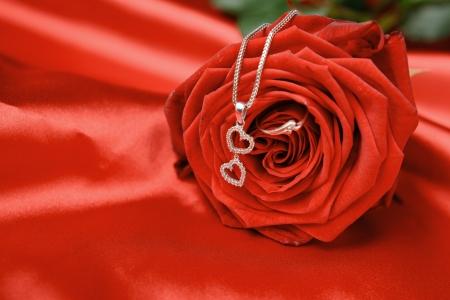 Collier de la Saint Valentin avec deux c?urs pendentif et un anneau sur rose rouge. Banque d'images