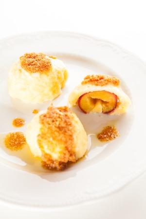 afters: Traditional Slovenian plum dumplings Stock Photo