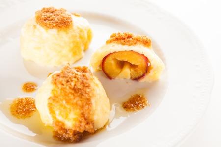 slovenian: Traditional Slovenian plum dumplings Stock Photo