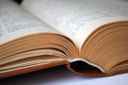 scientific literature: Opened scientific book close up Stock Photo