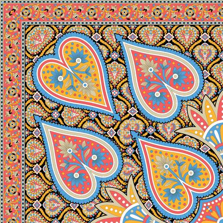 oriental rug: beautiful colorful textile print scarf design Stock Photo