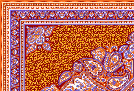 아름 다운 화려한 섬유 인쇄 스카프 디자인 스톡 콘텐츠