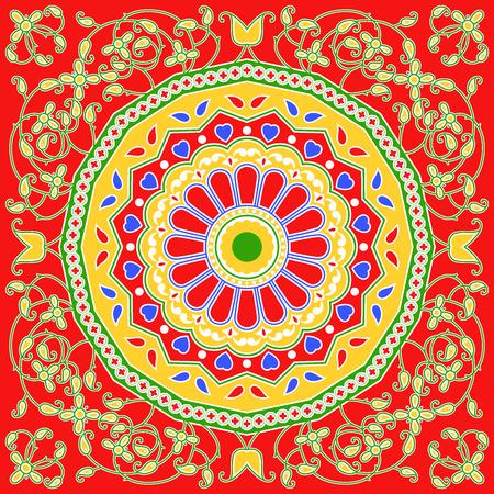 beautiful colorful textile print scarf design Stock Photo