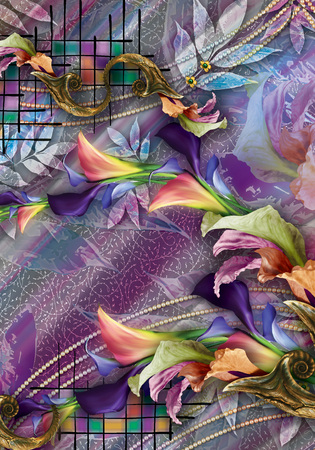 textile print colorful flower and background design