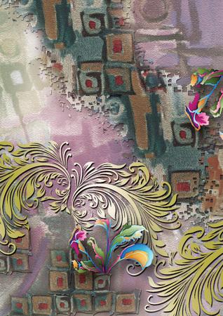 textile digital print colorful flower and background design Banque d'images