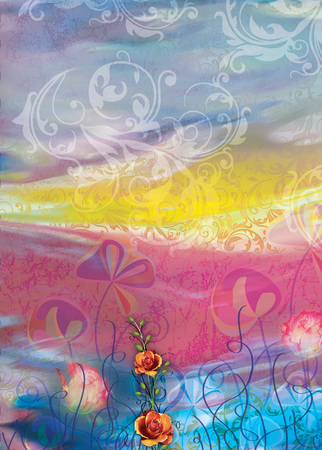 textile digital print colorful flower and background design Stock Photo