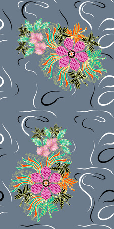 Beautiful colorful textile print design with flower