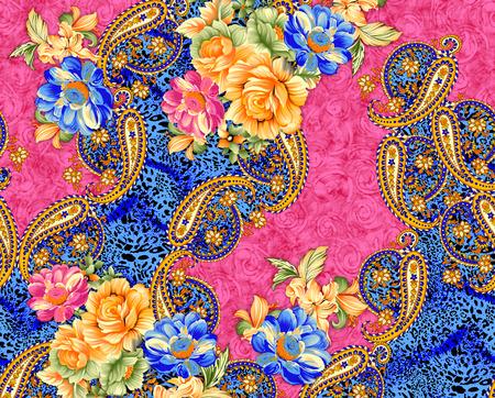 Bellissimo design di stampa tessile colorato con fiore