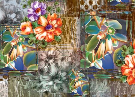 Colorful multi effect textile design scarf,dress,curtain etc... print design Stock Photo