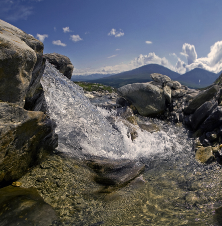 urals: Clean pure water mountain water river brooks lakes Stock Photo