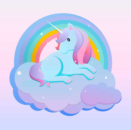 Turquoise little unicorn resting on a cloud. A cute illustration of a turquoise unicorn resting on an air cloud with a rainbow, ideal for children's art. 向量圖像