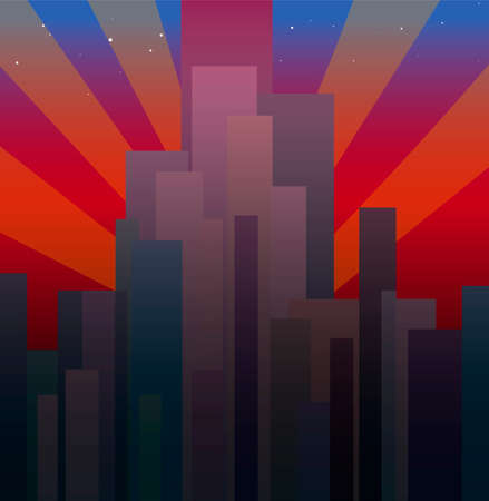 Vector background of the evening city. Tall skyscrapers in the crimson sunset aim for the stars. Abstract texture.
