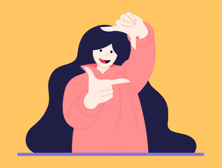 A cute illustration of a girl who makes measurements with her hands in the form of a rectangle in a vector illustration. Modern stylish girl in comfortable clothes.