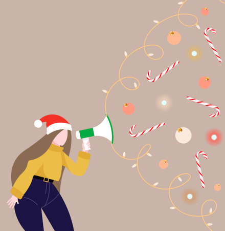 Festive merry winter illustration template. The design of a girl with holiday intentions shouts into the speaker that she needs to get ready for Christmas and New Year.