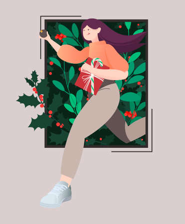 Vector winter illustration of a running girl carrying the Christmas spirit. Open door with Christmas plants and decor, Christmas decorations, gifts. Happy winter holidays.