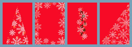 Winter set of cards, templates, posters, posters, covers. Festive design with snowflakes and sparkles on a red background.
