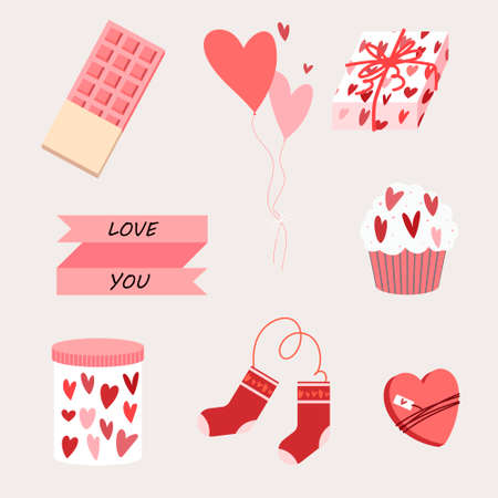Vector set of holiday objects for romantic background. Valentine's Day. Chocolate bar, water balls, wrapping paper box, ribbon, cupcake, jar, body socks, box of chocolates.