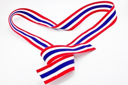 Thailand flag ribbon in heart shape