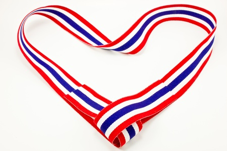 Thailand flag ribbon in heart shape