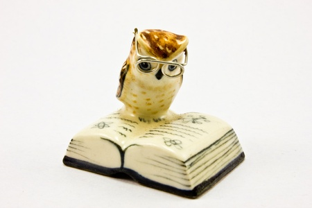 ceramic owl reading a book