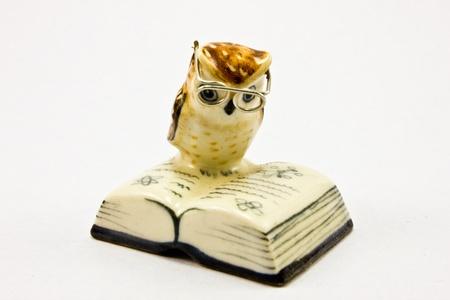 ceramic owl reading a book