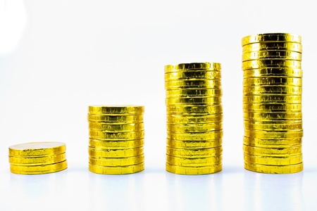 gold coin tower Stock Photo