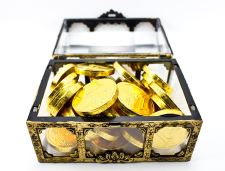 Treasure box with golden coin