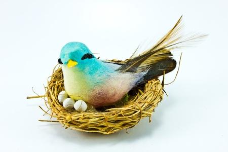 Handmade bird on white background