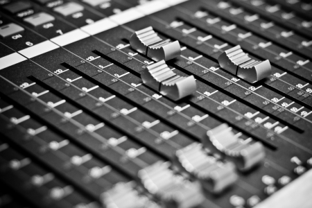 recording studio: Sound mixer board