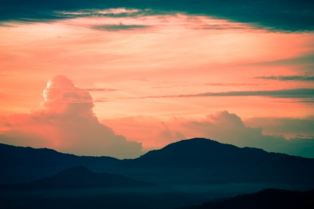 Evening sky with mountain view Stock Photo