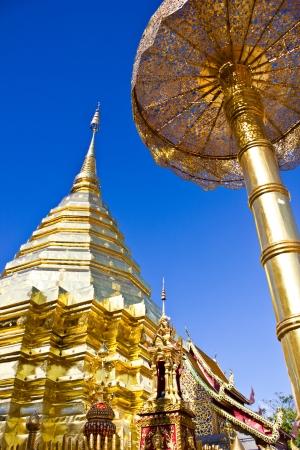 Gold pagoda temple doi sutep