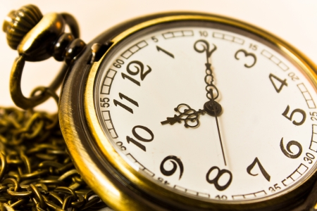 pocket book: vintage chain watch on old paper Stock Photo