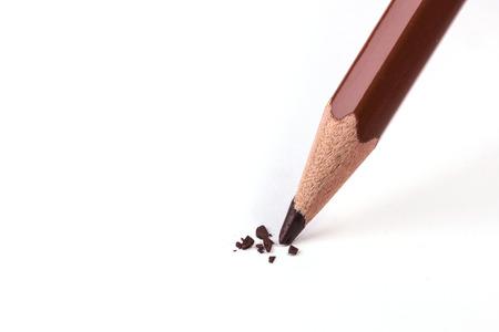 close up of brown color pencil head break