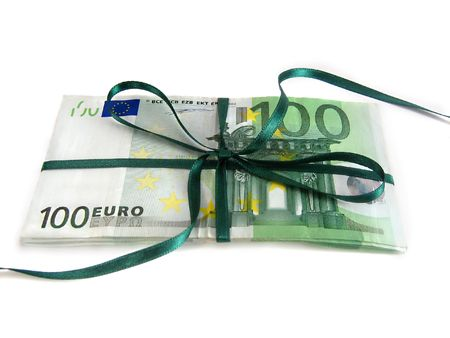 one hundred euro bills wrapped with a green ribbon photo