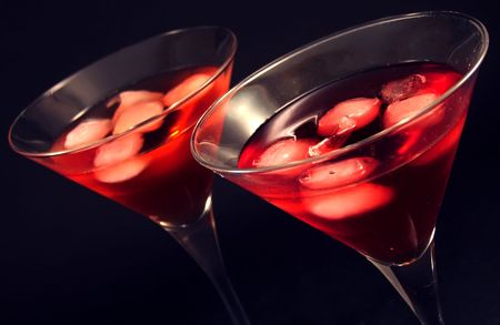 Two martini glass with iced cocktail