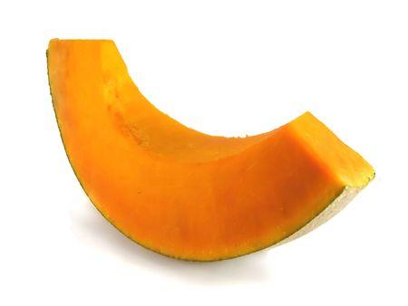 yellowautumn: slice of pumpkin isolated on the white background Stock Photo
