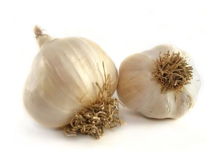 two garlic isolated on the white background