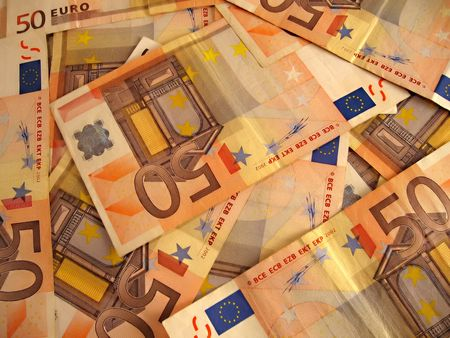 legal tender: a huge mount of fifty euro banknotes