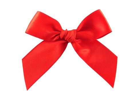 lazo regalo: Red regalo arco aislado sobre fondo blanco Foto de archivo