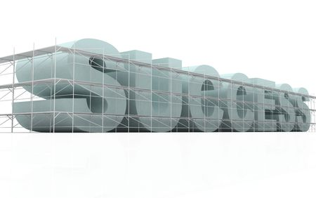 scaffold: isolated  3d business word being built under construction with scaffold around it