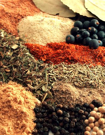 background of various colorful spices Banco de Imagens
