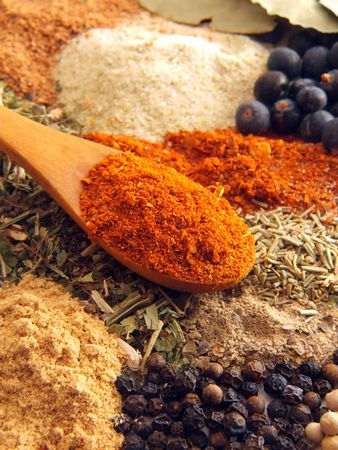 indian spice: spoon of paprika above various of spices