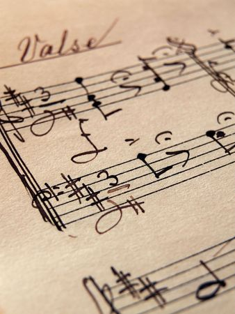 closeup of music sheets on an old paper