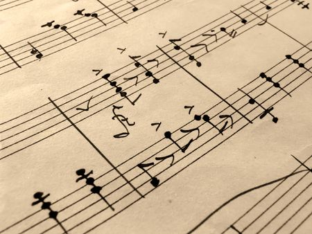 antique sleigh: closeup of music sheets on an old paper