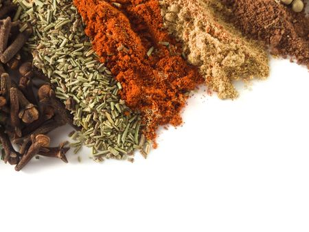 closeup of various spices over white Stock Photo - 4667624