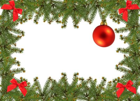 frame of pine branches and christmas ornament photo
