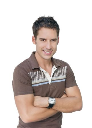 male arm: Young handsome male model smiling.
