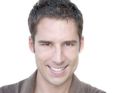 belleza masculina: Retrato de portarretrato de atractivo adulto joven  Foto de archivo