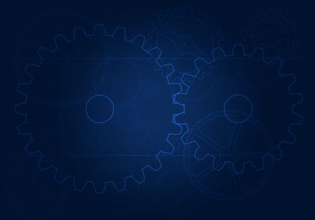 frontal view of engineering blueprint with gears